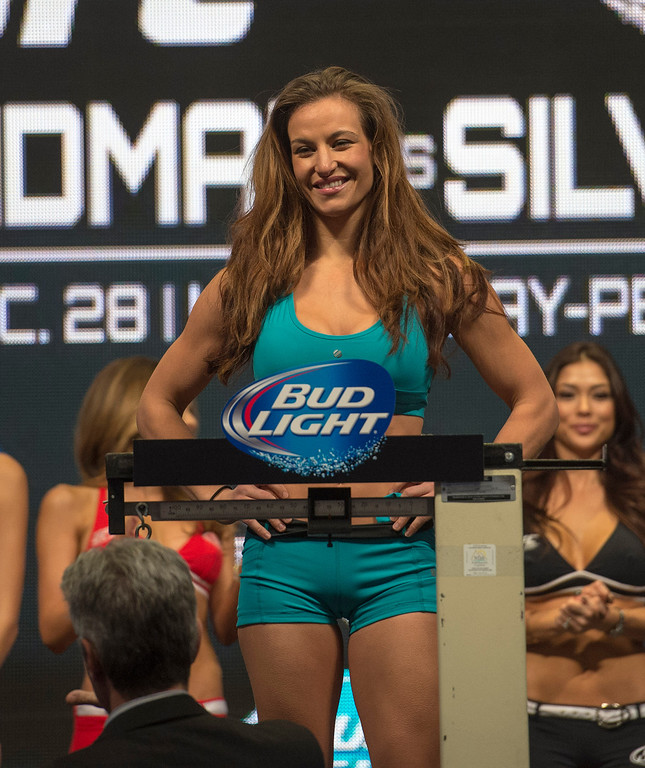 . Miesha Tate weighs in at 135 lbs  at the MGM Grand in Las Vegas Friday, December 27, 2013. Tate will be taking on Champion Ronda Rousey in a rematch during UFC 168 on Saturday at the MGM Grand Garden Arena. (Photo by Hans Gutknecht/Los Angeles Daily News)