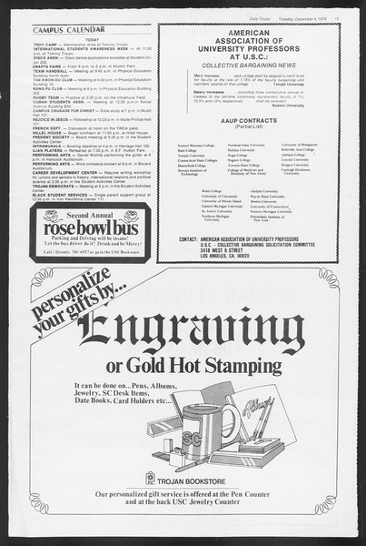 Daily Trojan, Vol. 87, No. 52, December 04, 1979