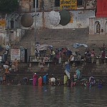 morning worshipers along the Ganges, Varanasi, India
