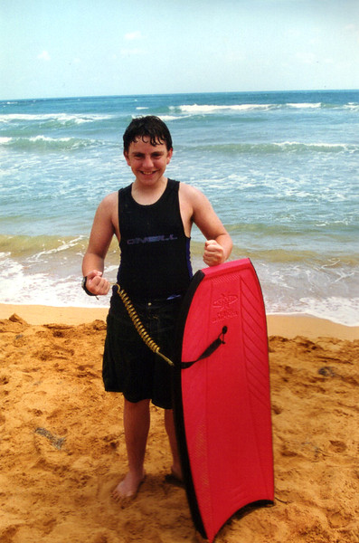 Andy Looks Sexy With His Boogie Board