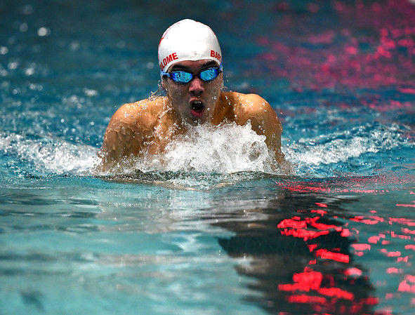 1/7/2020 Mike Orazzi | StaffrBristol swimmer Gabriel Bartolome in the 200 IM against Hall High School in Bristol.