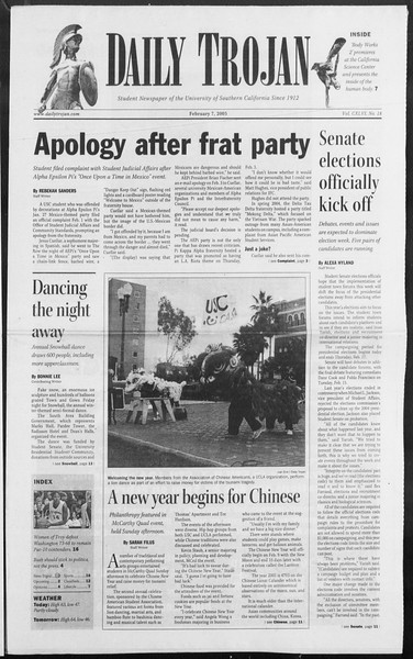 Daily Trojan, Vol. 154, No. 18, February 07, 2005