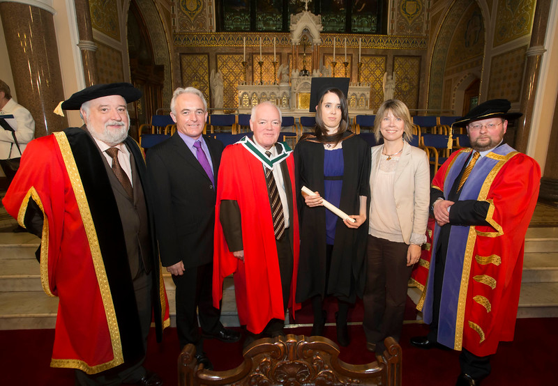 Pictured is Fiona Kavanagh, Waterford who graduated Bachelor of Arts (Hons) in Early Childhood Studies. Also pictured are Jack Walsh, Deputy Chairperson Govering body, Dr. Derek O'Byrne, Registrar of Waterford Institute of Technology (WIT), Dr. Michael Howlett, Trish and Michael Kavanagh. Picture: Patrick Browne.