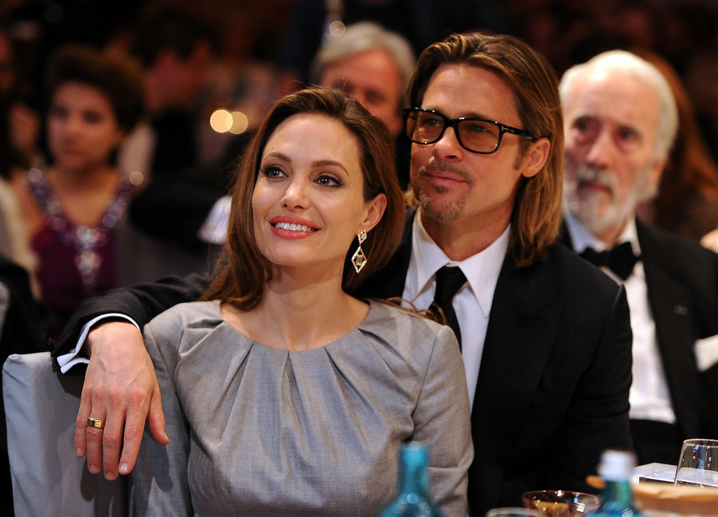 . Angelina Jolie and Brad Pitt attend the Cinema for Peace Gala ceremony at the Konzerthaus Am Gendarmenmarkt during day five of the 62nd Berlin International Film Festival  on February 13, 2012 in Berlin, Germany.  (Photo by Pascal Le Segretain/Getty Images for Cinema for Peace)
