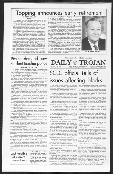 Daily Trojan, Vol. 61, No. 114, April 28, 1970