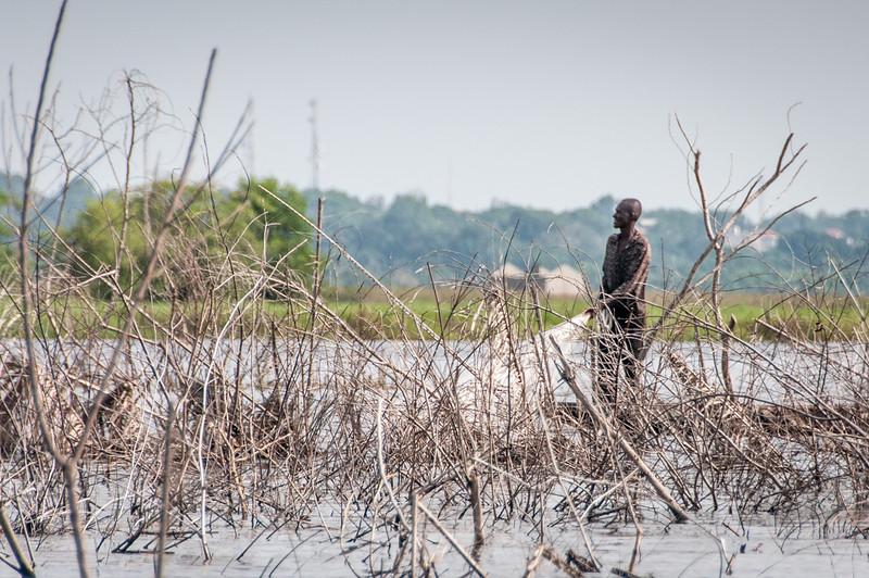 Fishing in the lake in Cotonou, Benin