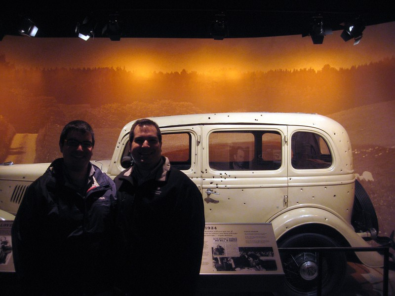 Jordan and Craig in front of a car used in the film Bonnie and Clyde, at the National Museum of Crime & Punishment (3/8/11)