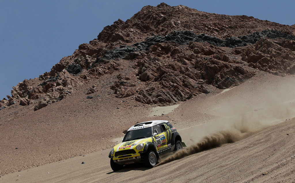 . Joan Nani of Spain and co-driver Michel Perin of France race their Mini downhill in the 3nd stage of the 2013 Dakar Rally from Pisco to Nazca, Peru, Monday, Jan. 7, 2013. The race finishes in Santiago, Chile, on Jan. 20. (AP Photo/Victor R. Caivano)