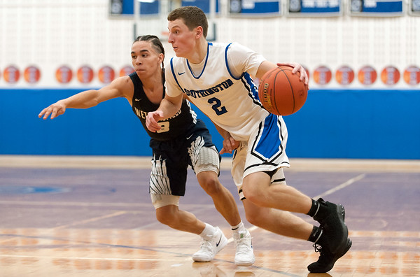 12/14/18 Wesley Bunnell | Staff Southington High School basketball vs Wethersfield on Friday night at Southington High School. Ryan Gesnaldo (2).