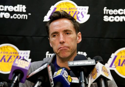 . Los Angeles Lakers guard Steve Nash talks to reporters during an NBA basketball news coneference in El Segundo, Calif., Monday, April 29, 2013. The Lakes lost their first-round playoff series to the San Antonio Spurs. (AP Photo/Chris Carlson)