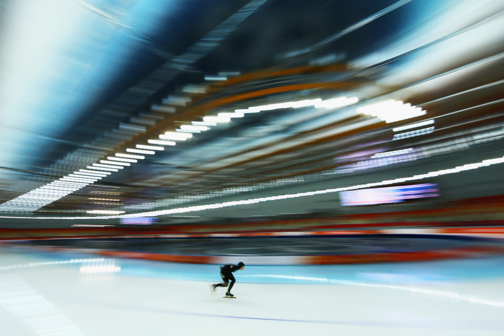. Patrick Meek of the United States competes during the Men\'s 5000m Speed Skating event during day 1 of the Sochi 2014 Winter Olympics at Adler Arena Skating Center on February 8, 2014 in Sochi, Russia.  (Photo by Paul Gilham/Getty Images)
