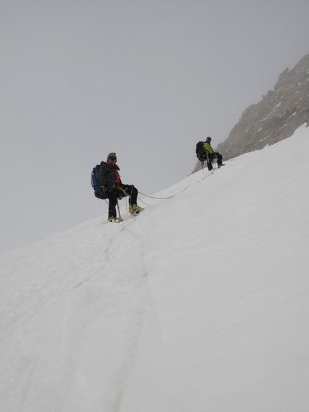 On fixed rope towards C3 ((14,200ft = 4.328m). From left: John DM and John W.
