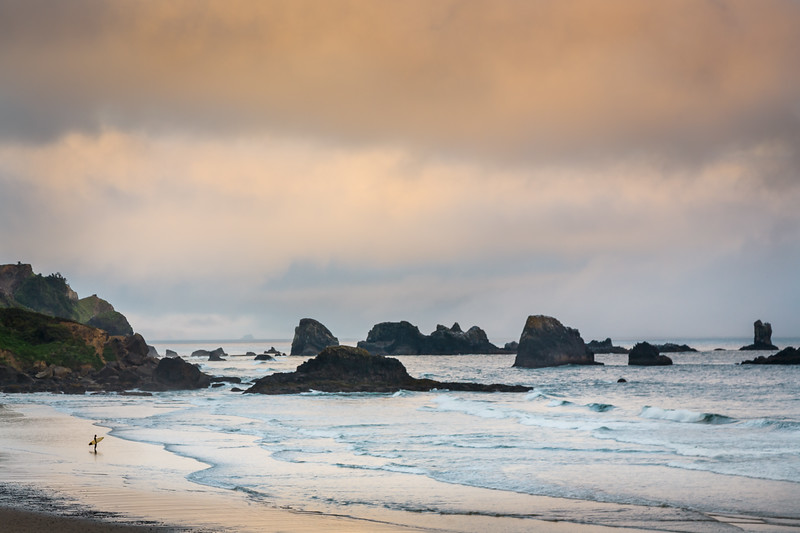 Surfer at Indian Beach, Oregon