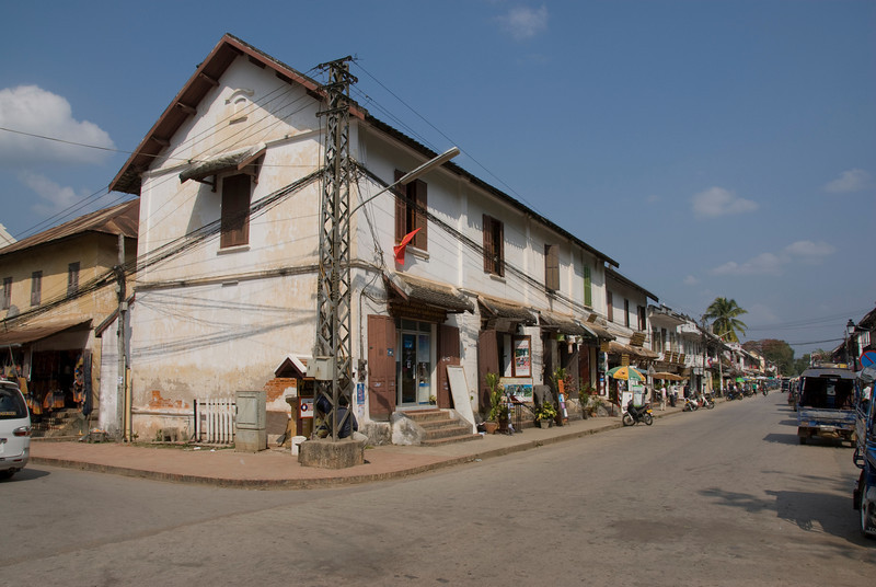 Shot of a street corner in Luang Prabang, Laos