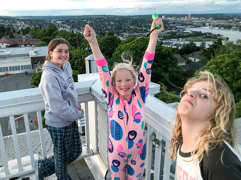 On top of the coveted observation tower - quite possibly the highest point on Queen Anne Hill - a dream of Amelia's realized at the big sleepover. And also, Julius :D