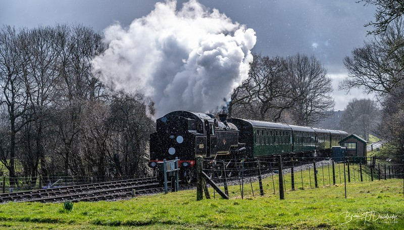 BR Standard Tank No.80151 approaches Kingscote Station
