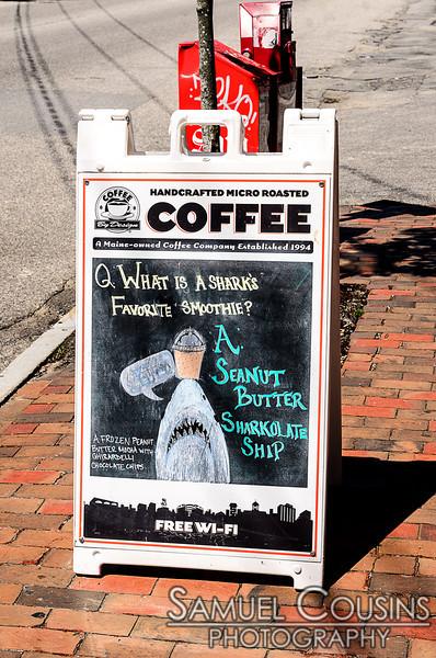 Coffee by Design - Shark Week sign