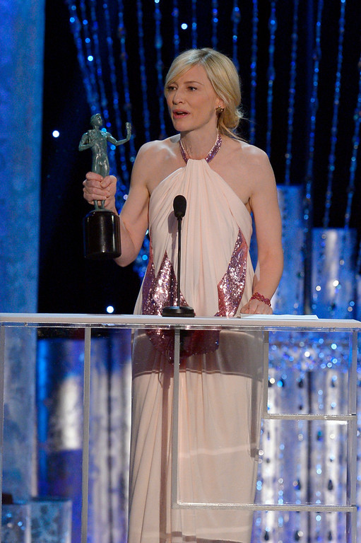 . Cate Blanchett, accepts  Outstanding Performance by a Female Actor in a Leading Role  for �Blue Jasmine� during the show of the 20th Annual Screen Actors Guild Awards  at the Shrine Auditorium in Los Angeles, California on Saturday January 18, 2014 (Photo by Andy Holzman / Los Angeles Daily News)