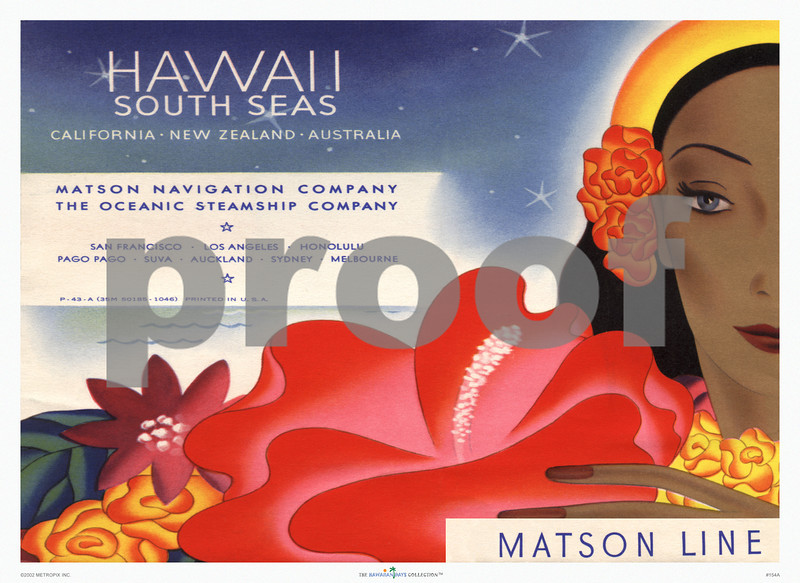 154: 'Hawaii - South Seas' Ocean Navigation Company Ticket Pouch Cover, ca 1939. (PROOF watermark will not appear on your print)