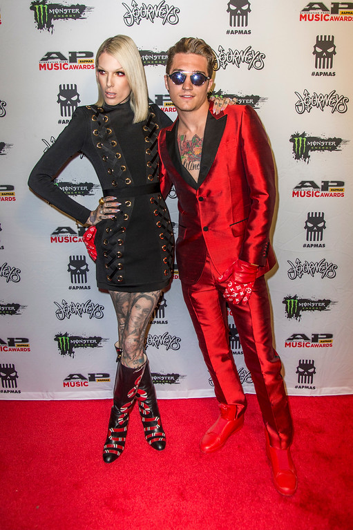 . Jeffree Star, left, and Nathan Swan seen at 2017 Alternative Press Music Awards at the KeyBank State Theatre on Monday, July 17, 2017, in Cleveland. (Photo by Amy Harris/Invision/AP)