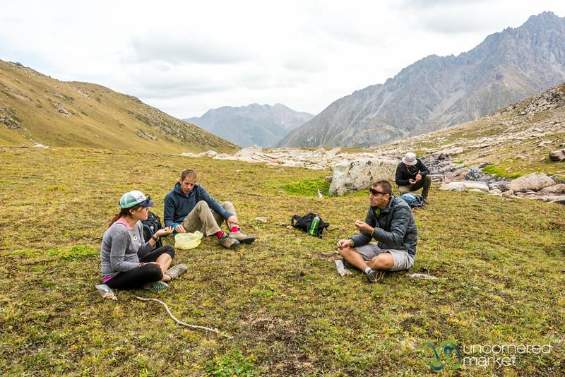 Snack Time by Alpine Lake - Jyrgalan Trek, Kyrgyzstan