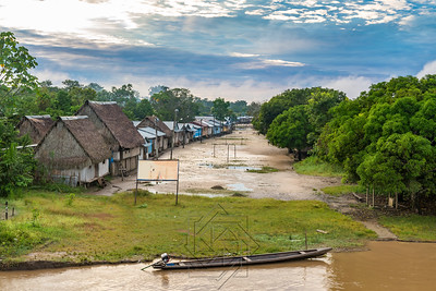 Village along the Rio Samiria Amazon at Dawn