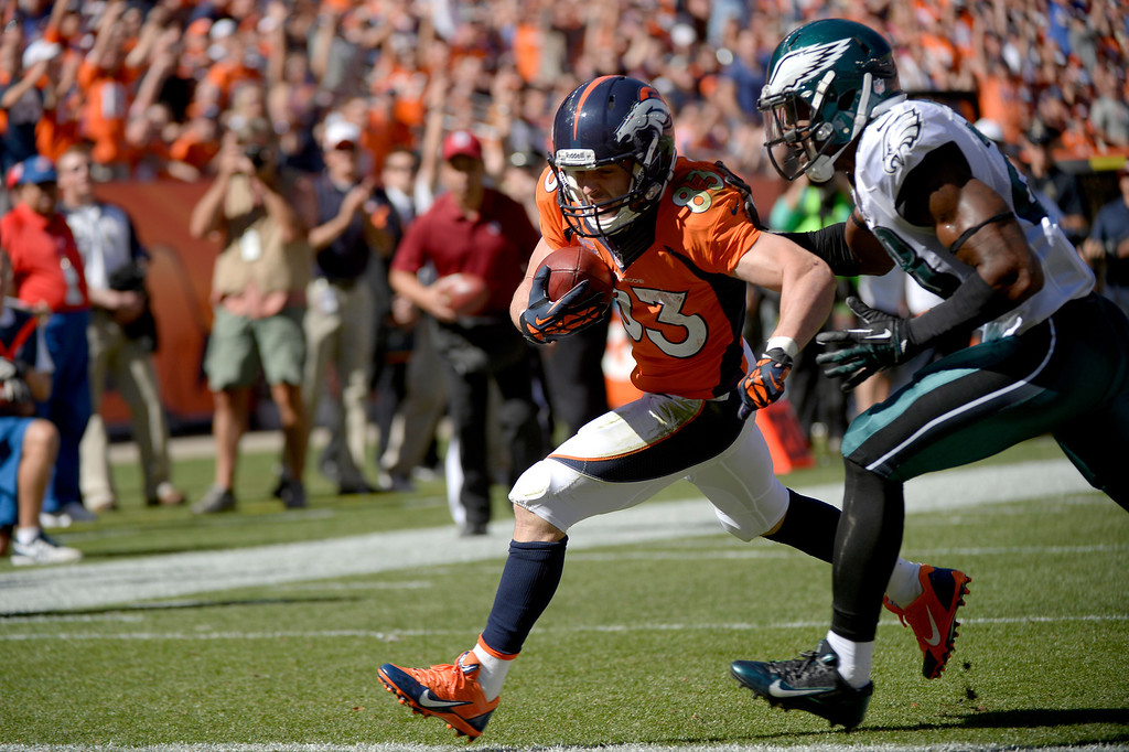 . Denver Broncos wide receiver Wes Welker (83) heads to the goal line to score in first quarter. The Denver Broncos took on the Philadelphia Eagles at Sports Authority Field at Mile High in Denver on September 29, 2013. (Photo by Joe Amon/The Denver Post)