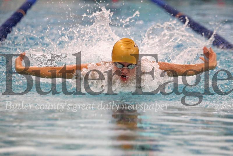 Butler's Gideon Goettler, 200 IM vs Seneca. 02/13/20 Seb Foltz/Butler Eagle
