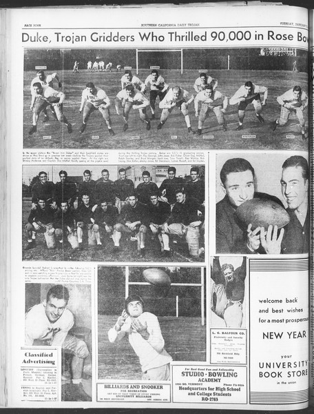 Daily Trojan, Vol. 30, No. 58, January 03, 1939