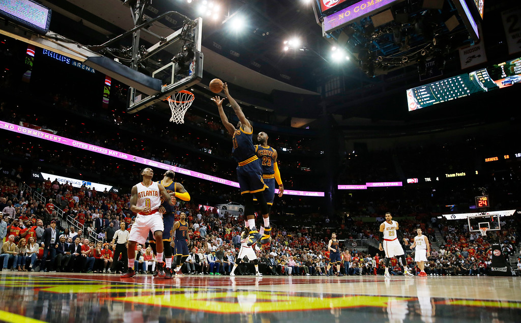 . Cleveland Cavaliers center Tristan Thompson (13) shoots against the Atlanta Hawks in the first half of Game 3 of the second-round NBA basketball playoff series, Friday, May 6, 2016, in Atlanta. (AP Photo/John Bazemore)