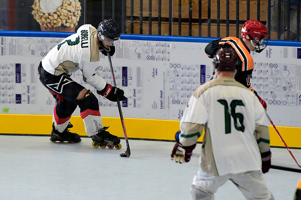 7/21/2018 Mike Orazzi | Staff Dirty Birds's Adrian Gajor (2) at Trinity College for Roller Hockey during the Nutmeg State Games Saturday.