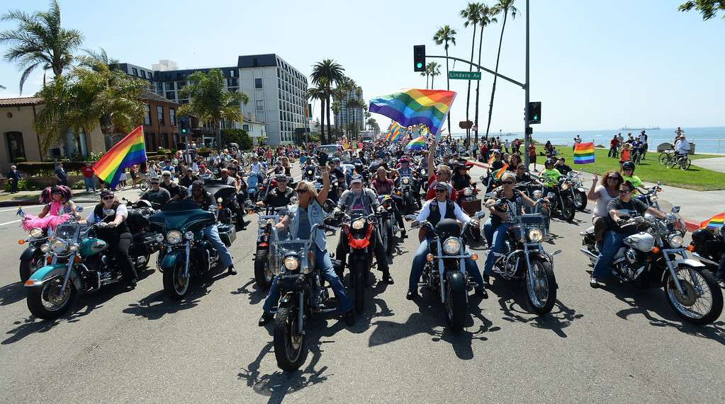 . Long Beach, Calif., -- 05-19-13- Dykes on Bikes, the L Riders and Chrome Divas start off  the 30th Annual Long Beach Gay and Lesbian Pride Parade along Ocean Boulevard Sunday.    Stephen Carr/  Los Angeles Newspaper Group