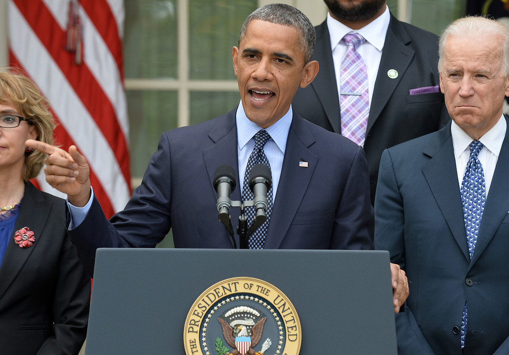 """. US President Barack Obama speaks on gun control on April 17, 2013 in the Rose Garden of the White House in Washington, DC. Obama on Wednesday slammed what he called a \""""minority\"""" in the US Senate for blocking legislation that would have expanded background checks on those seeking to buy guns.  JEWEL SAMAD/AFP/Getty Images"""