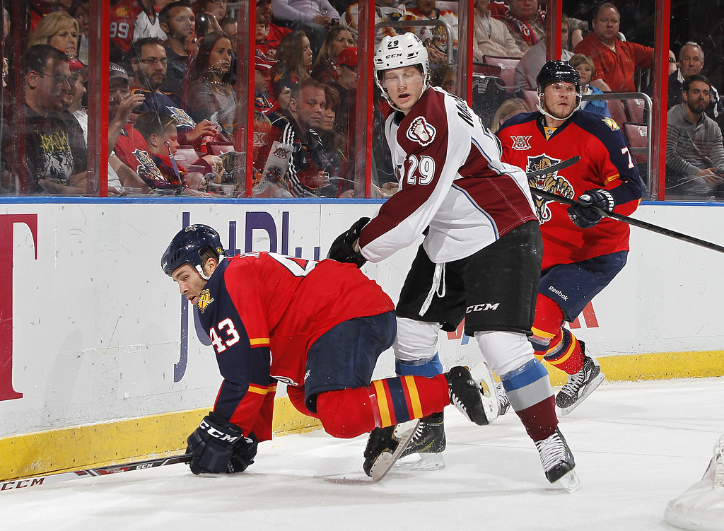 . SUNRISE, FL - JANUARY 24: Nathan MacKinnon #29 of the Colorado Avalanche checks Mike Weaver #43 of the Florida Panthers to the ice behind the net during second period action at the BB&T Center on January 24, 2014 in Sunrise, Florida. (Photo by Joel Auerbach/Getty Images)