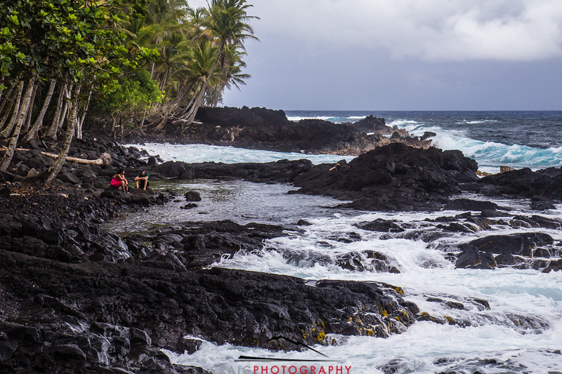 Black lava beach on Hawaii Island