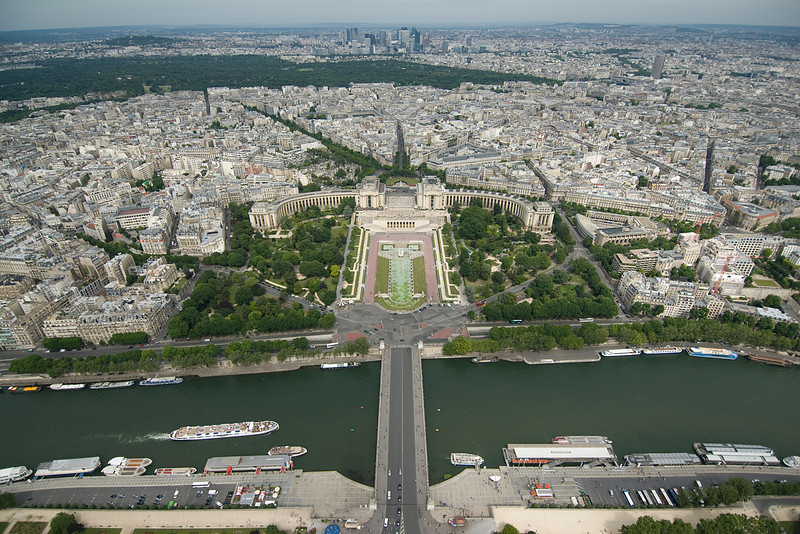 Aerial view of the Pont d'Iéna in Paris, France