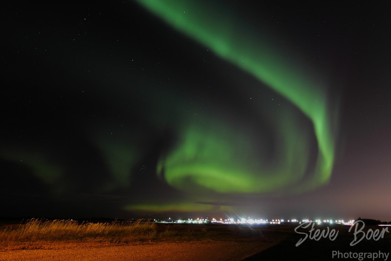 Aurora spiral over St. Albert