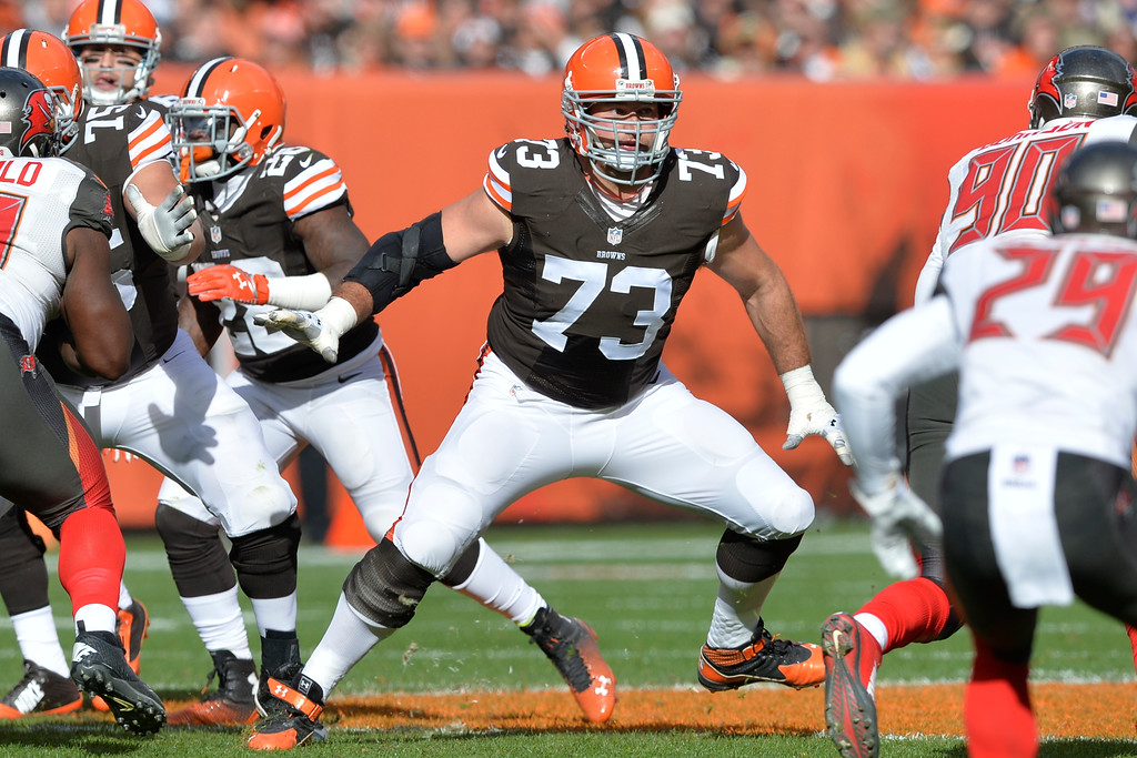 . Cleveland Browns tackle Joe Thomas (73) blocks during an NFL football game against the Tampa Bay Buccaneers Sunday, Nov. 2, 2014, in Cleveland. The Browns won 22-17. (AP Photo/David Richard)