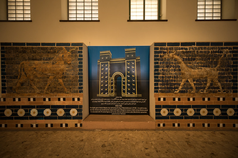 "A picture of the Ishtar Gate, the eighth gate to the inner city of Babylon that was constructed in ~575 BC by order of King Nebuchadnezzar II. After excavation from 1902 to 1914 by the German Archaeologist, Robert Koldewey"", the Ishtar Gate was rebuilt at the Pergamon Museum in Berlin in the 1930's."