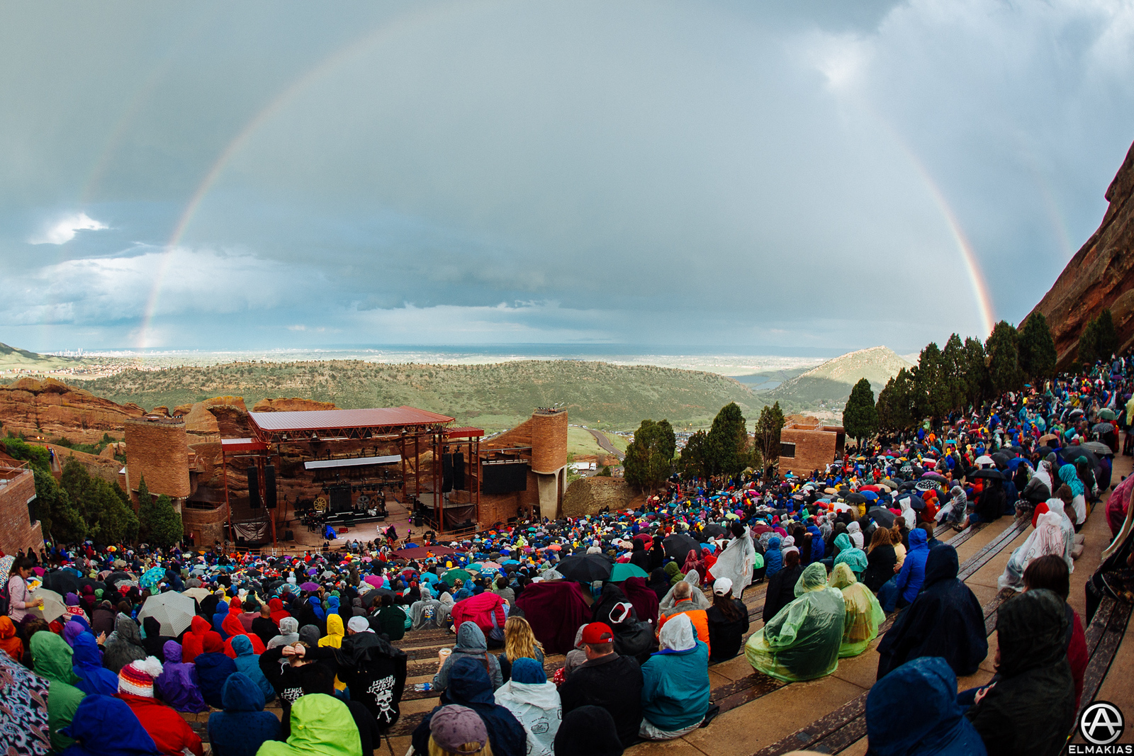 Rainbow at the Red Rocks Amphitheater in Denver, Colorado