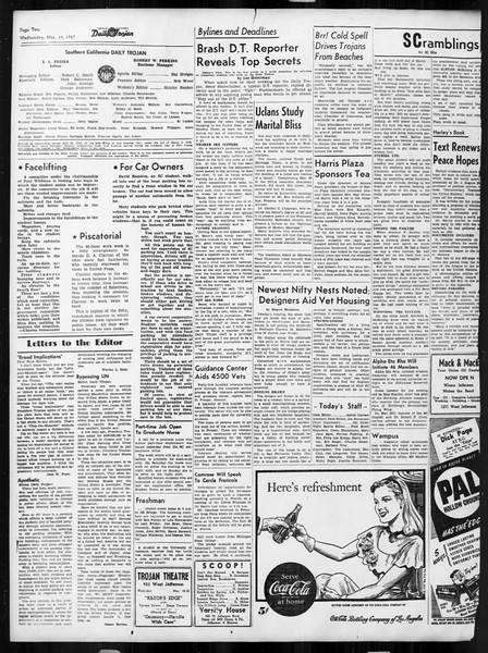 Daily Trojan, Vol. 38, No. 98, March 19, 1947