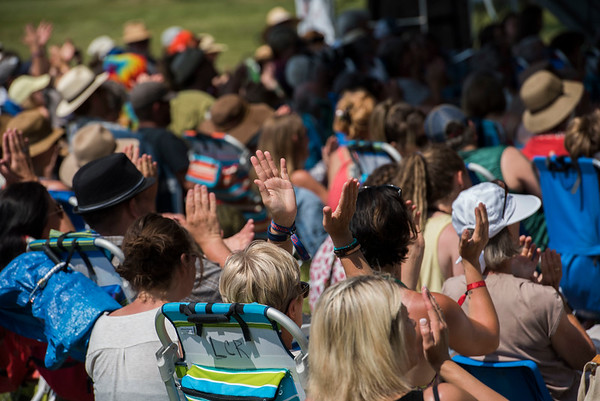 The crowd enjoys a workshop hosted by Begonia at the Green Ash stage during Folk Fest at Birds Hill Park Sunday July 9, 2017. (David Lipnowski for Metro News)