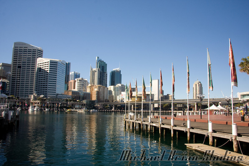 Darling Harbor, looking east towards downtown Sydney.
