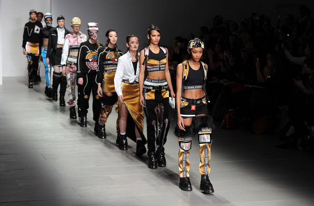. Models walk the runway at the Nasir Mazhar show at London Fashion Week AW14 at Somerset House on February 14, 2014 in London, England. (Photo by Stuart C. Wilson/Getty Images)