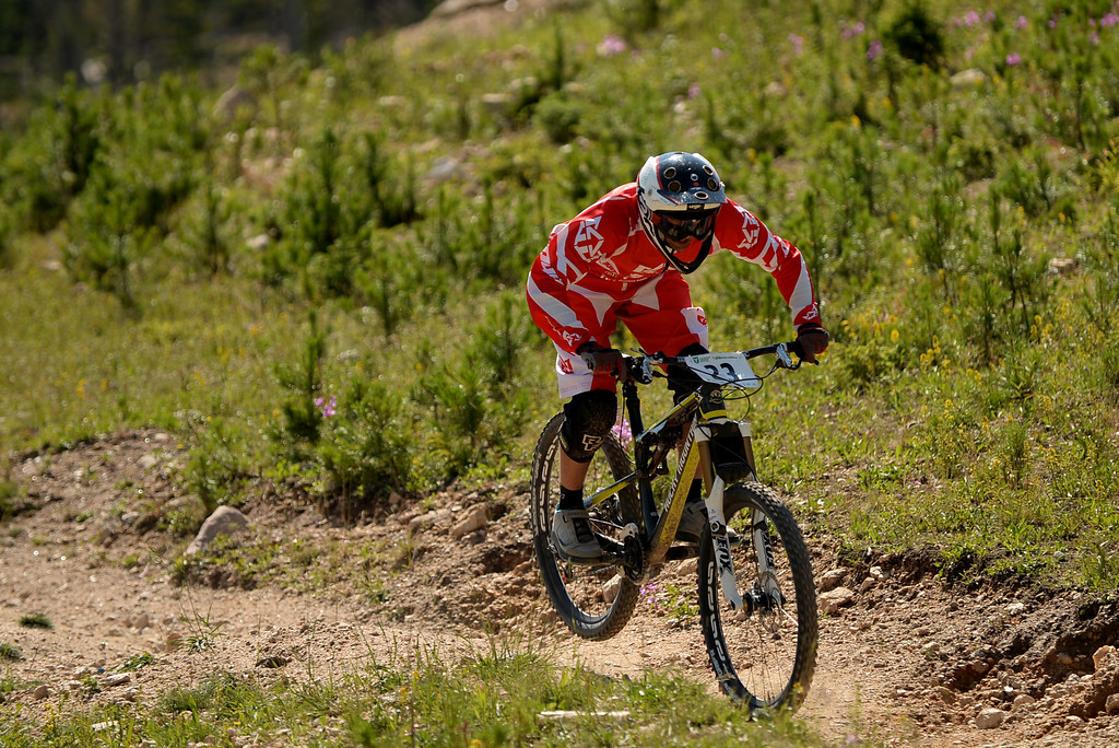 . WINTER PARK, CO. - July 26: Antonin Gourgin controls bike during the first stage of First international Enduro World Cup Championship ever in U.S. at Winter Park, Colorado. July 26, 2013. (Photo By Hyoung Chang/The Denver Post)