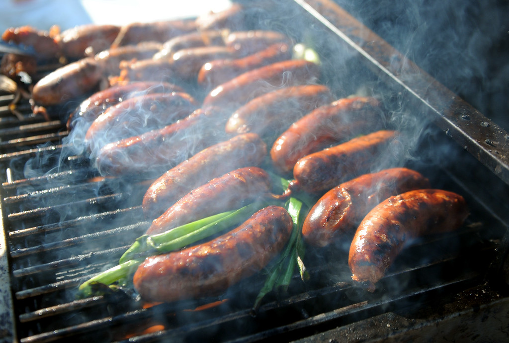 . J.R. Marquez ( not pictured) of Los Angeles bbq\'s prior to a college football game between Nevada and UCLA in the Rose Bowl on Saturday, Aug. 31, 2013 in Pasadena, Calif.    (Keith Birmingham Pasadena Star-News)