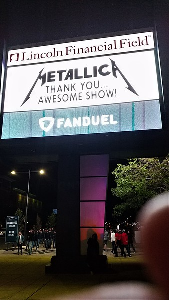 METALLICA - Lincoln Financial Field Philadelphia May 12, 2017