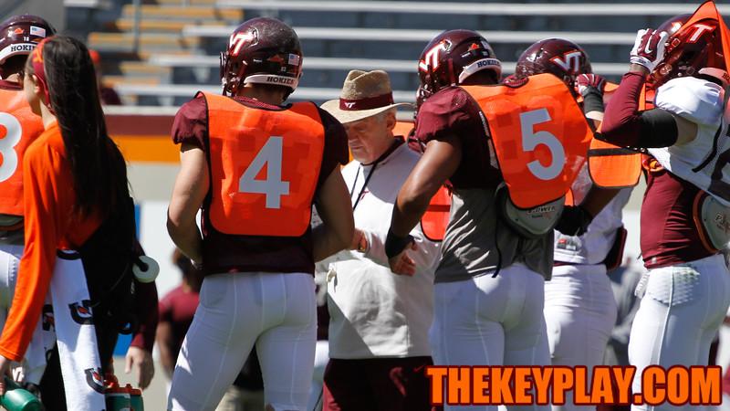 Head Coach Frank Beamer talks with the punting unit. (Mark Umansky/TheKeyPlay.com)