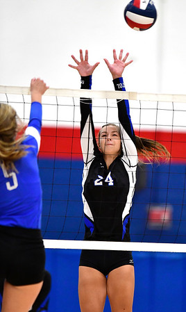 9/18/2019 Mike Orazzi | StaffrBristol Eastern Girls Volleyball's Sage Scarritt (24) during Wednesday night's match with Plainville. r