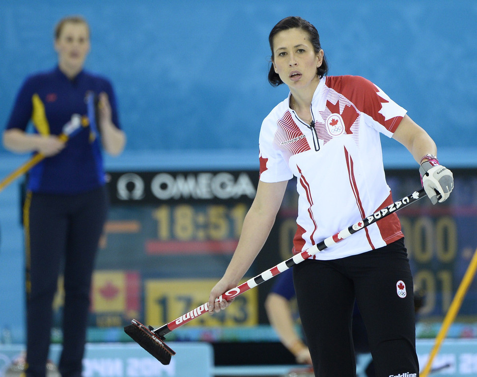 . Canada\'s Jill Officer watches the stone during the Women\'s Curling Gold Medal Game Sweden vs Canada at the Ice Cube Curling Center during the Sochi Winter Olympics on February 20, 2014.  JONATHAN NACKSTRAND/AFP/Getty Images